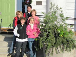 Garden Club Crew Decorating the Town Hall Planters